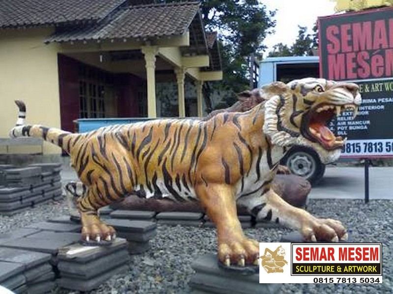 Kelik Studio Semar Mesem Patung Macan Loreng Gambar Harimau